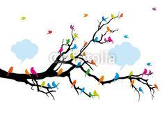 Aves de colores en árbol, vector