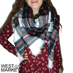-IN STOCK-  Plaid Blanket Scarf Plaid blanket scarf made with cashmere & acrylic. Exceptionally soft fabric! 55x55 inches. PLEASE COMMENT TO BUY THIS LISTING, I will make a separate listing for you. We cannot accept discounted offers on items marked RETAIL! West Market SF Accessories Scarves & Wraps