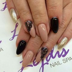 SPN: UV LAQ 628 Golden eye, 503 Black Tulip, 580 Fedora Nails by: Asia, Lejdis nail SPA #spn #spnnails #uvlaq #uvgel #inspiracje #paznokcie #nails