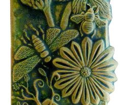 Botanical Design Ceramic Art Tile Wall Hanging by HoneybeeCeramics, $85.00
