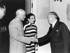 President Chiang Kai-shek and Madame Chiang greeting Joshua B. Powers in Taiwan, April 1969