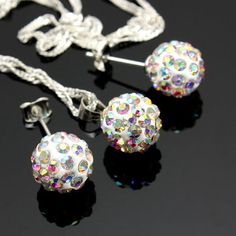 Crystal Ball Bead Pendant Necklace Earrings Jewelry Set For Women at Banggood