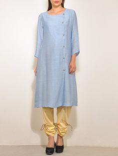 Blue-Gold Chanderi Angrakha   Smriti Gupta