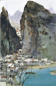 Scenery of Guilin, above, painted by Wu Guanzhong, below, in 1973, the year he returned from working as a farm labourer
