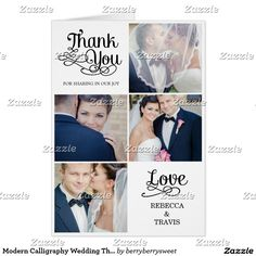 Modern Calligraphy Wedding Thank You Card Black