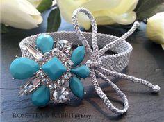 Metallic Silver Woven Cuff Bracelet  Turquoise by RoseTeaAndRabbit https://www.etsy.com/uk/listing/228388689/metallic-silver-woven-cuff-bracelet?ref=shop_home_active_2
