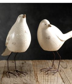 "Nellie Birds White Set of Three Ceramic & Wire $9 set / 2 sets $8 each   Glazed hand painted ceramic with metal wire legs and feet  range in size from 7"" to 9"" tall    smallest is 8.75"" tall x 3"" wide x 6"" long  middle size bird: 8"" tall x 3"" wide x 7"" long  largest bird: 9.25"" tall x 3"" wide x 7"" long"