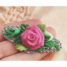 🌹 ° • ° • #jewellery #rose #leaf #polymerclay #handmade #faux #flower #pink #magenta #fuchsia #green #bright #roses #flowers #polymer #clay #charm #pin #delicate #petals #sculpture #fimo #sculpey #premo #cute #charming #brooch #leaves #jewelry Handmade Polymer Clay, Polymer Clay Jewelry, Rose Leaves, Faux Flowers, Rose Flowers, Polymer Clay Flowers, Miniature Fairy Gardens, Beauty Nails, Jewellery