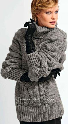 Объемный пуловер-пончо с узором из плетеных кос