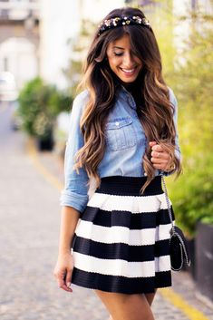 How To Style A Denim Shirt, Black And White Striped Skirt, Light Blue Denim Shirt, Denim with Black and White http://www.mimiikonn.com/