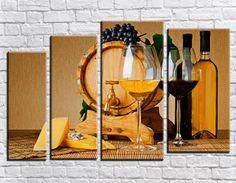 Купить модульную картину два бокала вина + подарок
