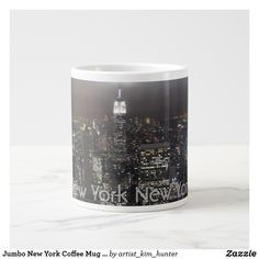 Jumbo New York Coffee Mug Nyc Personalized Cup 20 Oz Large Ceramic. Personalized Cups, Personalized Coffee Mugs, Beer Mugs, Funny Coffee Mugs, Extra Large Coffee Mugs, Coffee Cups, Cityscapes Nyc, Coffee Travel, Travel Mugs
