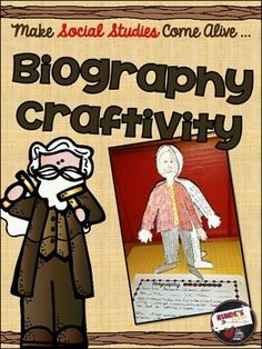 Biography Craftivity - A Craftivity to integrate Literacy and Social Studies. Male and female figure outlines included. $