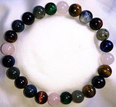 Farbige Tigerauge Labradorit Sodalith Rosenquarz Heilstein Perlen Armband