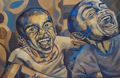 Mark Kassi- The Joke - Mixed Media on Canvas - 60 x 89 cm African Artists, Mixed Media Canvas, Contemporary Art, Art Gallery, Artwork, Painting, Art Museum, Work Of Art, Auguste Rodin Artwork