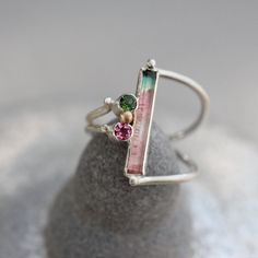 A stunning watermelon tourmaline ring.
