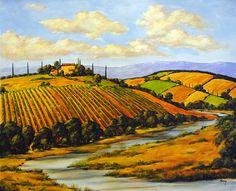 Tuscan Landscape, paper, painted by Charles Berry, Scottsdale Think Art Gallery Britain, Original Artwork, Contemporary Art, Art Gallery, Fine Art, Landscape, The Originals, Artist, Pictures