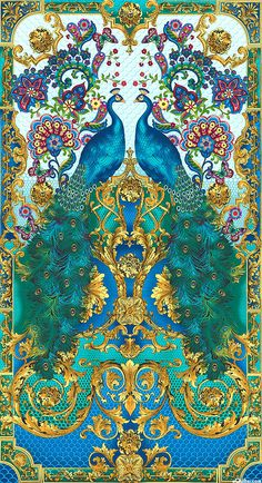 """eQuilter Hyde Park - Opulent Peacock Floral - Turquoise - 24"""" x 44"""" PANEL"""