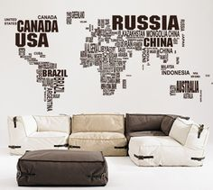 World map wall decal wall sticker office decal large by PurpleWall, $195.00