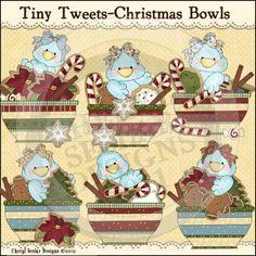 Tiny Tweets Christmas Bowls 1 - Clip Art by Cheryl Seslar