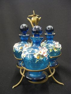 Victorian Art Glass | 888: Victorian Enameled Art Glass Perfume Set, : Lot 888