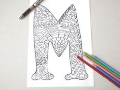 letter m to colour coloring page alphabet m kids adult