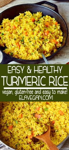 Flavorful coconut turmeric rice which can be prepared in one pot! This easy golden rice recipe is perfect for a weeknight dinner as the preparation takes only 15 minutes. If you like rice, you will… Indian Food Recipes, Whole Food Recipes, Vegetarian Recipes, Cooking Recipes, Healthy Recipes, Rice Vegan Recipes, Vegetarian Kids, Arabic Recipes, Kid Recipes
