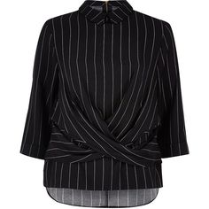 River Island Navy stripe twist front top (78 AUD) ❤ liked on Polyvore featuring tops, navy, shirts, women, navy shirt, tall shirts, navy blue striped shirt, striped top and peter pan collar shirt