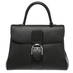 Delvaux Black Leather Brillant GM Satchel Handbag | From a collection of rare vintage top handle bags at https://www.1stdibs.com/fashion/handbags-purses-bags/top-handle-bags/