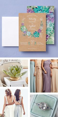"Soft pastels for spring, what a lovely thing! Inspired by @weddingpaper ""Splendid Succulents"" invite, here's a pretty inspiration board featuring powdery blue and lavender tones   neutrals. (invites: #WeddingPaperDivas, favor: Beau-coup, bridesmaids: Donna Morgan, bride: Kelsey Rose, ring: Trumpet"