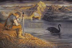 """swiftsnowmane: """"The Swan of Tuonela, by Ben Garrison """"The black swan on the Black River sings a sad song. Lemminkainen was sent to kill the swan, but the swan's song was so beautiful he was unable to do so. A Finnish god later punishes Lemminkainen. Ben Garrison, Inspirational Artwork, Figure Painting, Faeries, Fairy Tales, Illustration Art, Book Illustrations, Fantasy, History"""