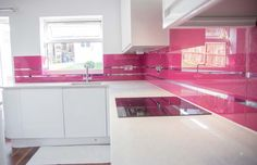 """Telemagenta"" Stunning Pink Glass kitchen splashback with Mirror Stripes by CreoGlass Design (London, UK). View more glass kitchen splashbacks and non-scratch worktops on www.creoglass.co.uk. #kitchen #kitchensplashbacks"