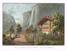 Chûte du Staubbach prise à l'entrée du village de Lauterbrunne - Aquatinte - gravure imprimée en couleurs par Johann HÜRLIMANN (1793-1850) d'après Mathias Gabriel LORY fils (1784-1846) - MAS Estampes Anciennes - MAS Antique Prints