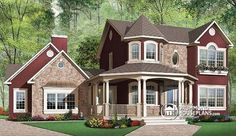 COUNTRY VICTORIAN HOME DESIGN  4 bedrooms, 3 full baths, 1 hafl bath, 2-car garage & master on main !   http://www.drummondhouseplans.com/house-plan-detail/info/country-1001808.html