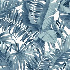 Blue Palm Leaf Removable Wallpaper