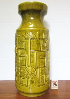 BAY KERAMIK GERMAN CERAMIC POTTERY 46cm FLOOR VASE GEOMETRIC DECOR FAT LAVA 70S | eBay