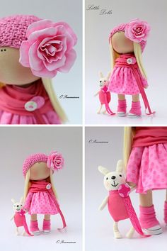 Removable cloth doll Pink doll Fabric doll di AnnKirillartPlace