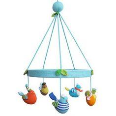hand knit bird mobile