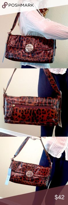 """Kate Landry Leopard Shoulder Bag Brand new with tags! NWT.  Kate Landry leopard print vegan leather shoulder bag.  12 X 6 X 3"""".   Gorgeous, deep, rich colors.                       🔹Please ask all your questions before you purchase! I am happy to help! 🔹Sorry, no trades or holds. 🔹Please, no lowball offers 🔹Please use Offer Button! 💕Happy Poshing! Kate Landry Bags Shoulder Bags"""