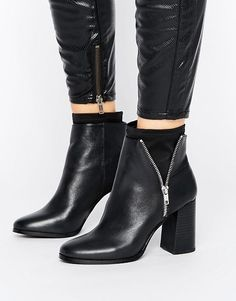 Miss Selfridge Black Zip Scuba Boot