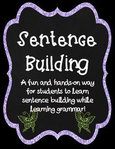 Sentence Building and Grammar Skills Sentence Building, Vocabulary Building, Teaching Punctuation, Math Wall, Grammar Skills, English Language Arts, Class Activities, Teaching Materials, Sight Words