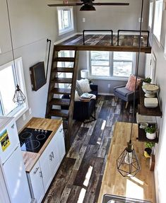 Cool tiny house design ideas to inspire you 30 - GODIYGO.COM Design Interior Small House Tiny House Cabin, Tiny House Living, Tiny House Plans, Tiny House On Wheels, Living Room, Small Living, Living Spaces, Tiny Home Floor Plans, Tiny House Stairs