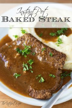 In West Virginia baked steak is king, but time consuming. However, with this Instant Pot Baked Steak recipe you can have baked steak any night of the week! Baked Steak Recipes, Chopped Steak Recipes, Minute Steak Recipes, Cube Steak Recipes, Beef Recipes, Recipies, Instant Pot Steak Recipe, Instant Pot Dinner Recipes, Pot Recipe