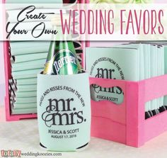 Create your own personalized wedding koozie favor with us! We offer over 800 customizable artwork templates & 45 koozie product color options! Your options are endless! Every wedding koozie order also comes with a FREE complimentary bride & groom koozie! Use coupon code PINFREESHIP and receive FREE Ground Shipping in the Continental United States! Code is not valid with other coupon codes and is valid through April 4, 2017!