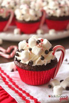 Christmas hot cocoa cupcakes