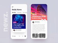 Newz - App UI Web Design, Ios App Design, User Interface Design, Flat Design, Best Ui Design, Ui Design Mobile, Card Ui, Mobile App Ui, Mobile News