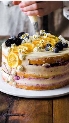elegant birthday cake for women - lemon bleuberry cake - blueberry cake Elegant Birthday Cakes, Birthday Cake For Women Elegant, Elegant Cakes, Happy Birthday Cakes For Women, Women Birthday, Homemade Birthday Cakes, Birthday Cake Cupcakes, Best Birthday Cakes, Birthday Cake Video