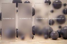 vetro satinato ottenuto modificando glossiness nel canale refraction con Vray