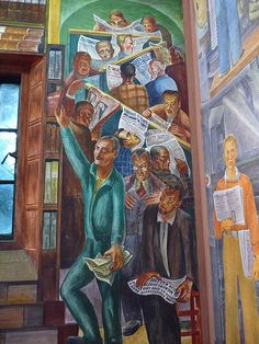 Coit Tower Murals - Some of the headlines in the newspapers discuss the creating of the murals Coit Tower San Francisco, Industrial Artwork, Mexican Artists, Diego Rivera, World Of Books, Oil Painting Reproductions, Art Projects, Art Deco, Murals