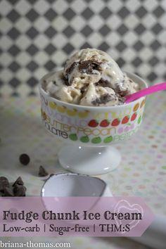 Fudge Chunk Ice Cream {Low-carb | Sugar-free | THM:S}